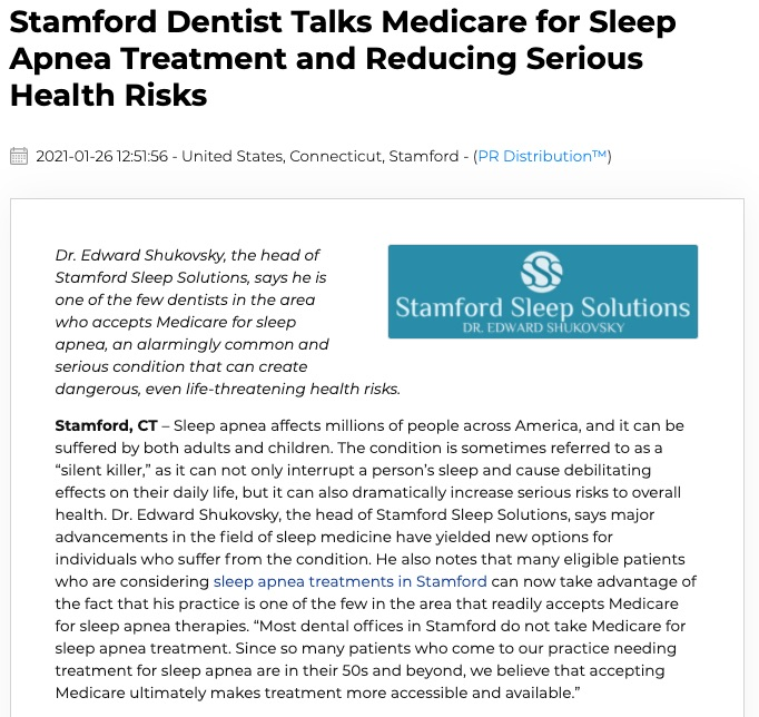 Stamford Dentist Edward Shukovsky, DMD of Stamford Sleep Solutions discusses Medicare for sleep apnea treatment and the importance of getting help for this common condition.